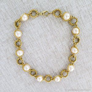 Vintage 1990s Gold Necklace + Pearls (Nautical)
